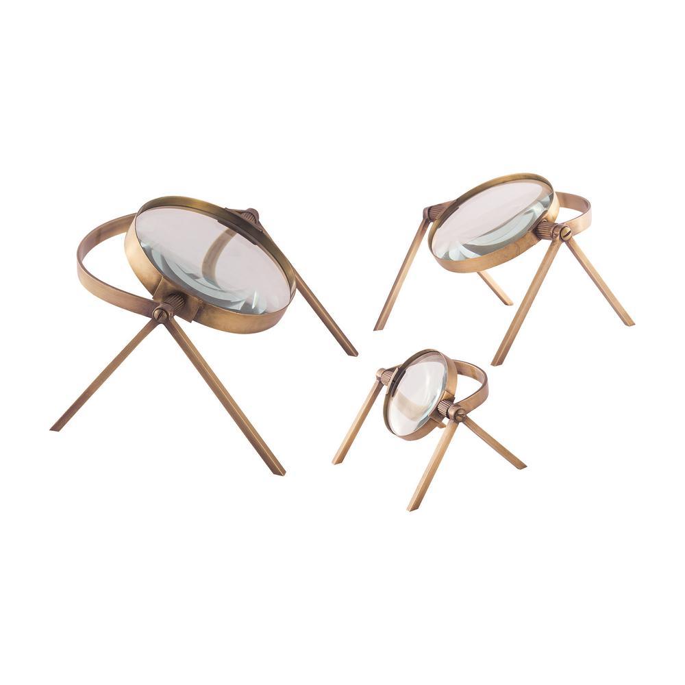 Titan Oculi Decorative Magnifying Lenses in Antique Brass...