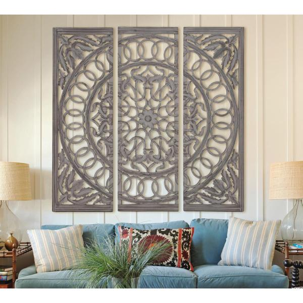Litton Lane Scrolled 48 in. x 48 in. Wood and Mirrored