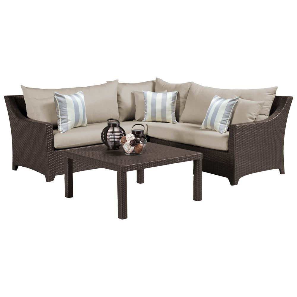 RST Brands Deco 4-Piece Patio Sectional Seating Set with Slate Grey Cushions