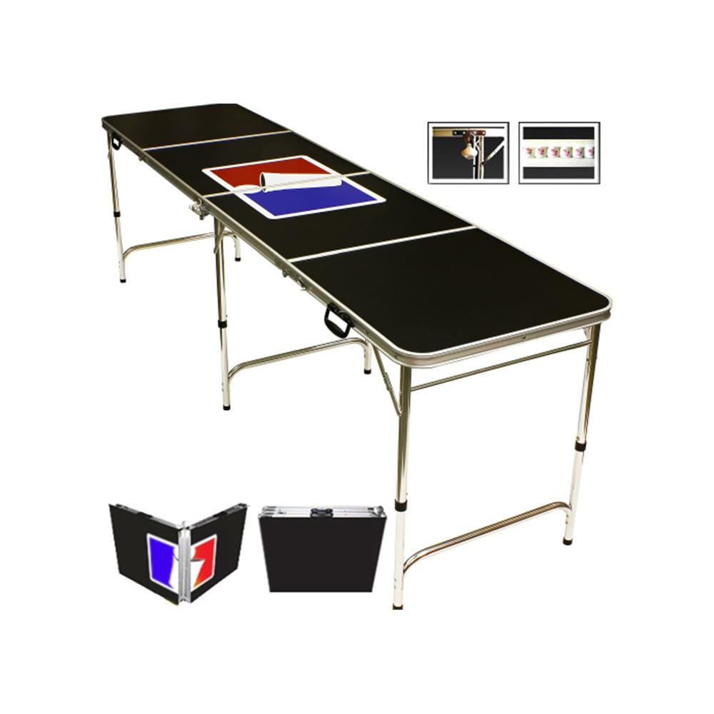 Folding Beer Pong Table With Bottle Opener, Ball Rack And 6 Pong