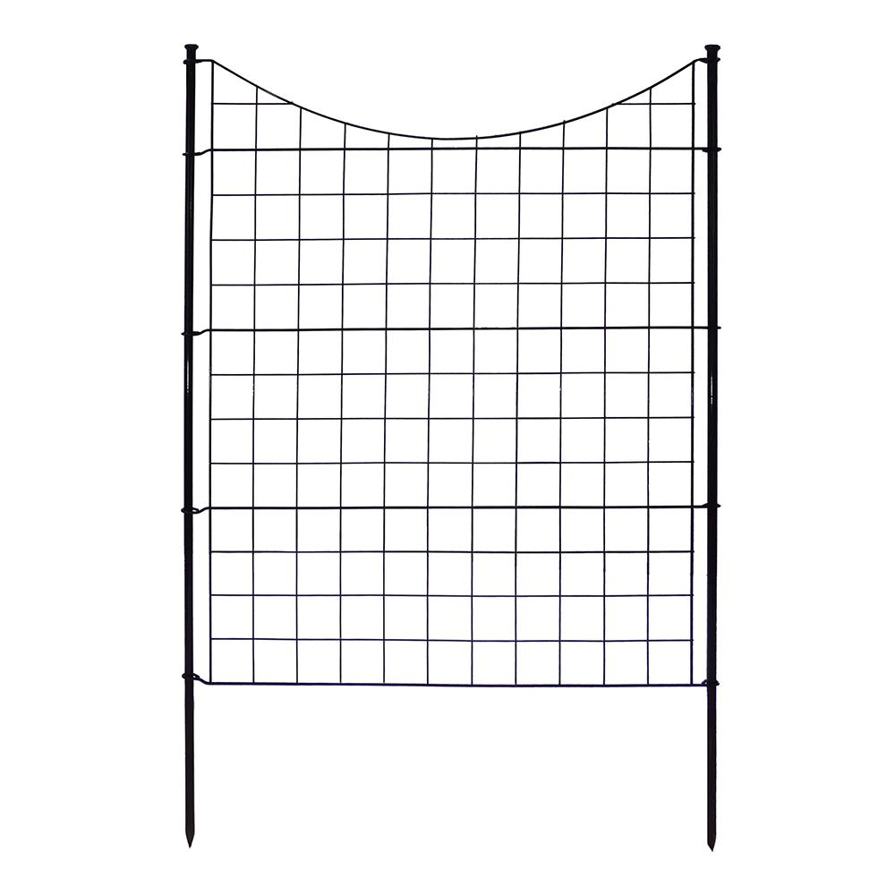 zippity 312 ft x 3 ft black metal fence panel with stakes the home depot