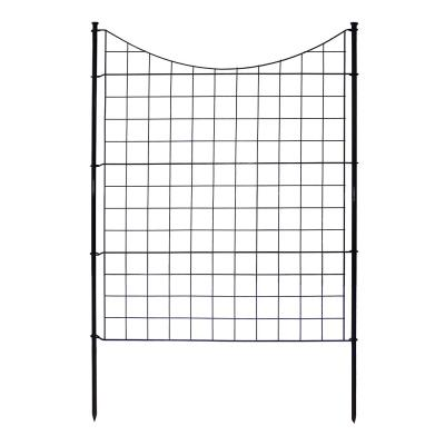 Zippity Semi-Permanent 3-1/2 ft. x 3 ft. Black Metal Fence Panel with Stakes (5-Pack)