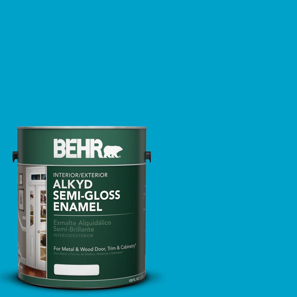 BEHR 1-gal. #AE-44 Electron Blue Semi-Gloss Enamel Alkyd Interior/Exterior Paint
