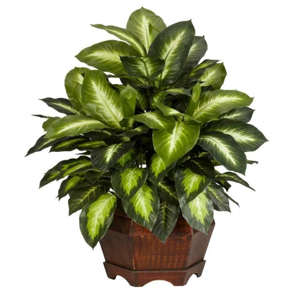 Nearly Natural 24 in. H Green Golden Dieffenbachia Silk Plant 6639