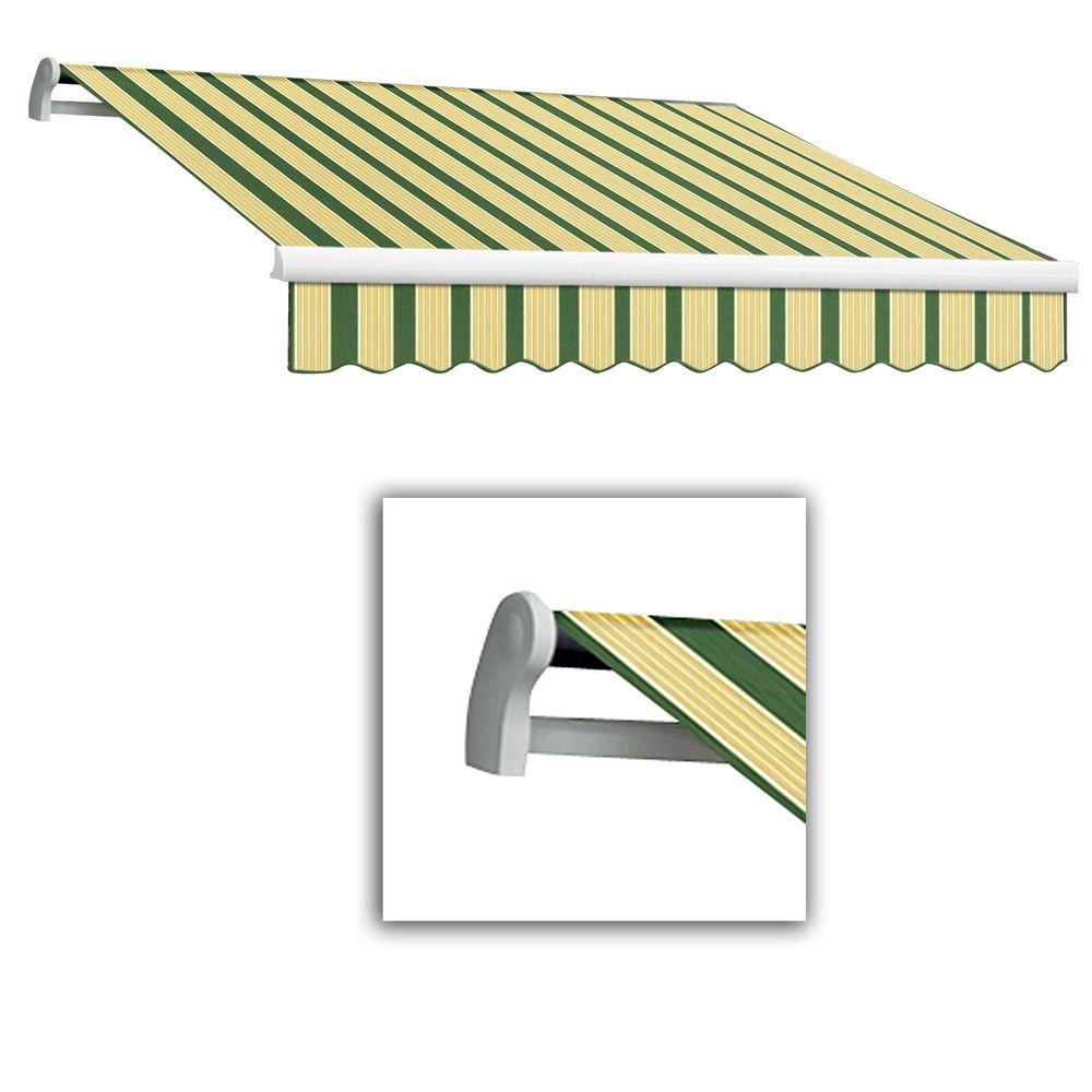 AWNTECH 8 ft. LX-Maui Right Motor with Remote Retractable Acrylic Awning (84 in. Projection) in Forest/Tan Multi