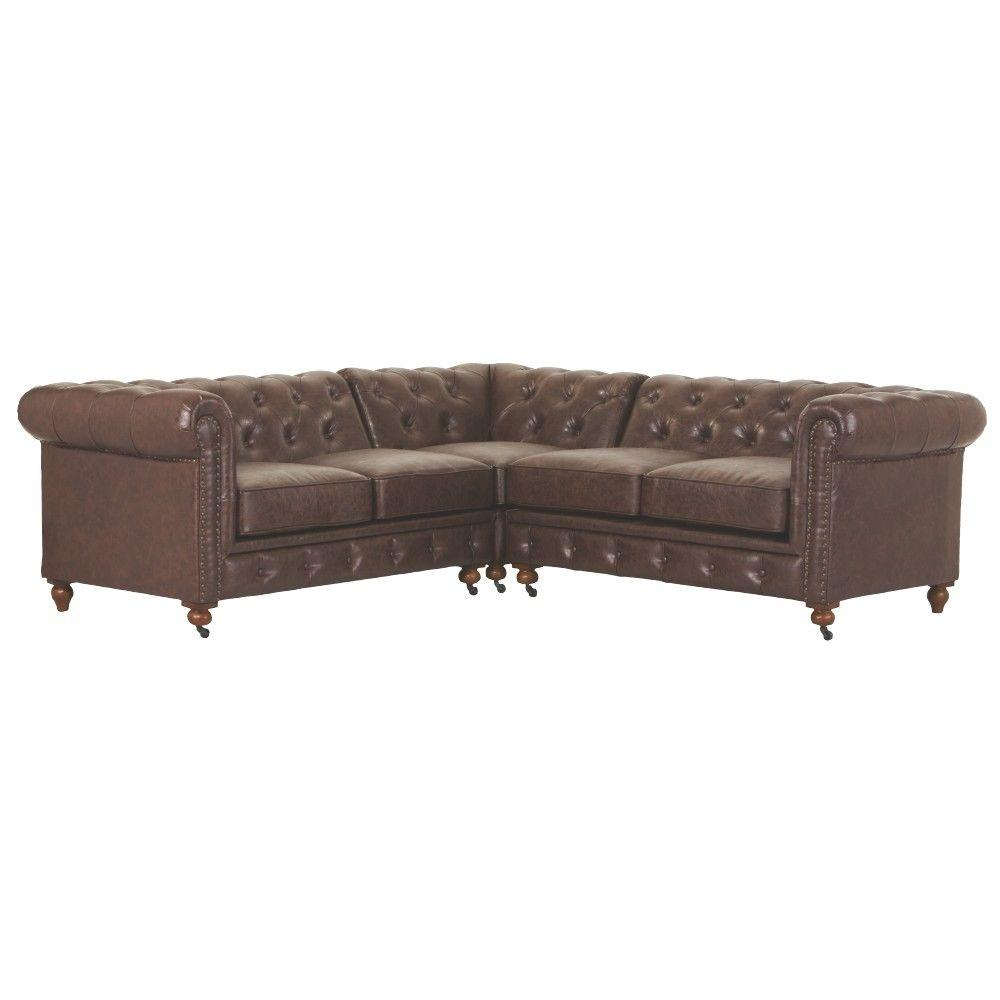 Home Decorators Collection Gordon 3 Piece Bonded Leather Brown Sectional