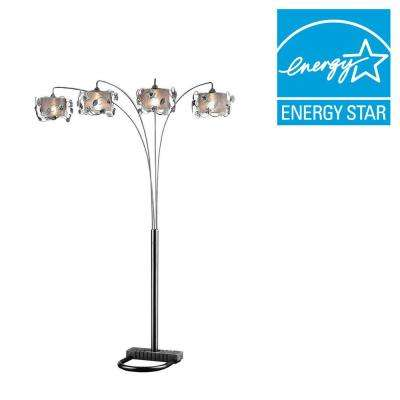 91 in. Silver Crystal Arch Lamp
