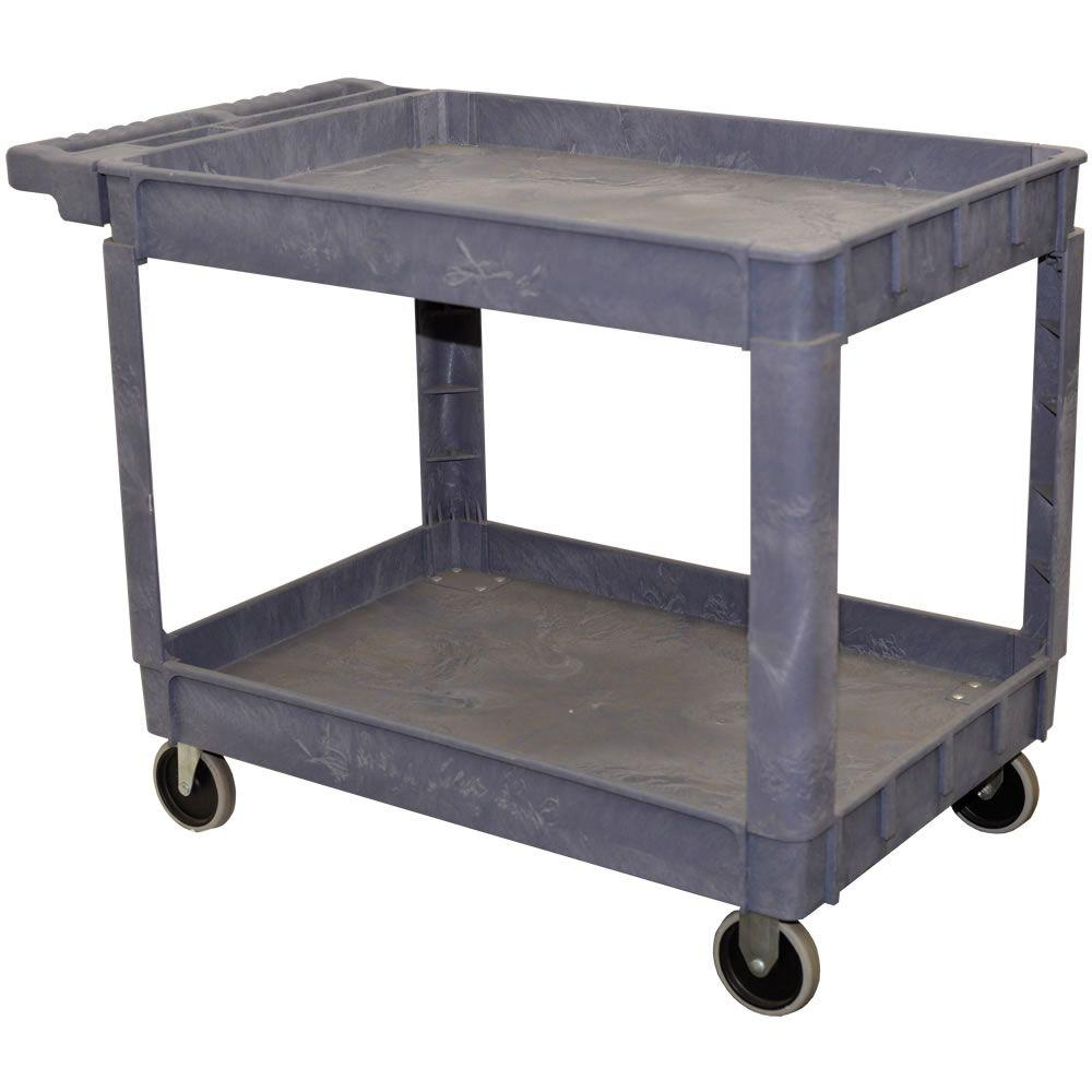 Storage Concepts 2-Shelf Plastic Service Cart in Gray - 32 in H x 16 in W x 16 in D