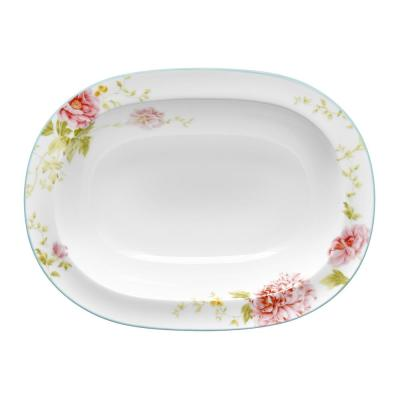 24 Oz. White and Pink Bone China Peony Pageant Oval Vegetable Bowl