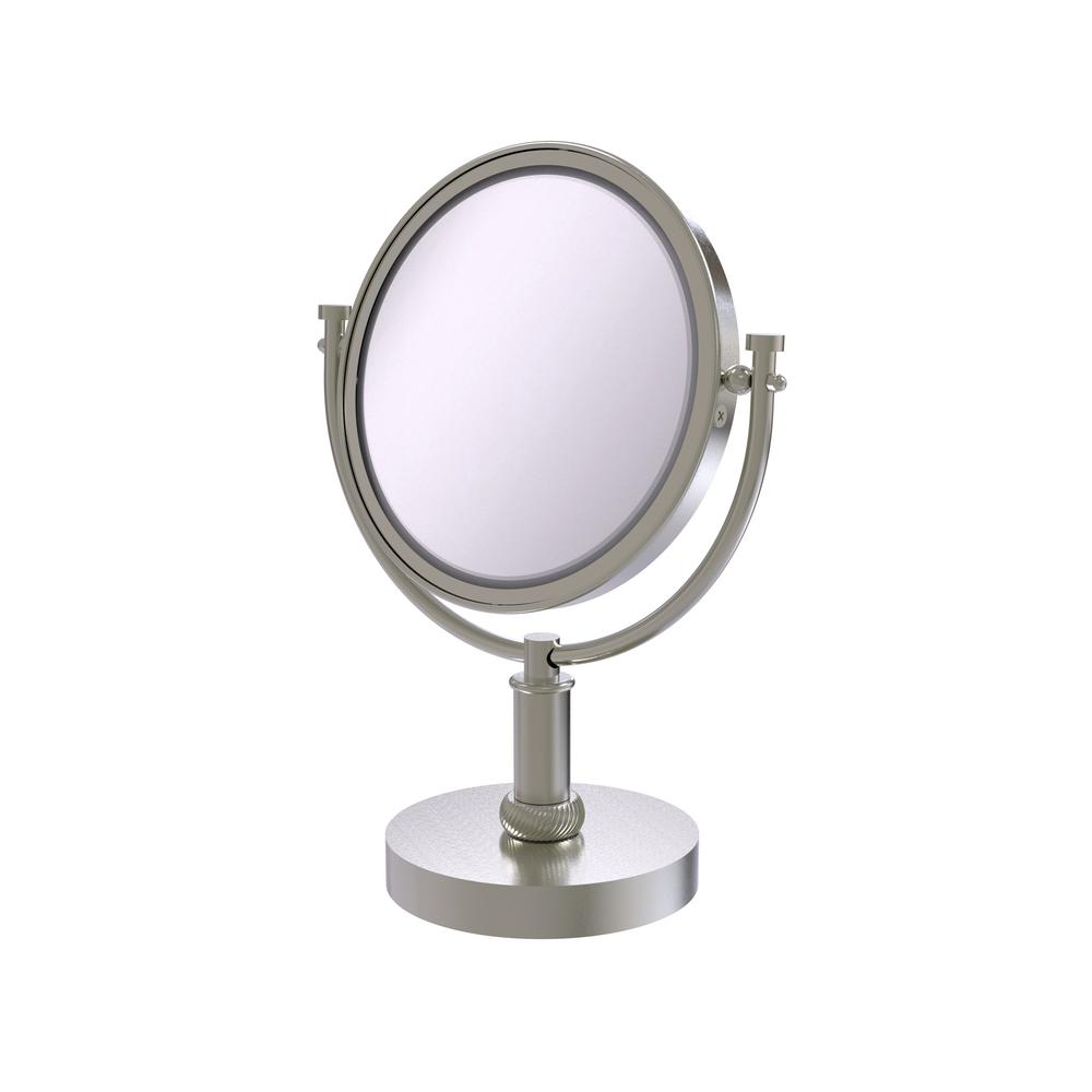 8 in. Vanity Top Make-Up Mirror 2X Magnification in Satin Nickel