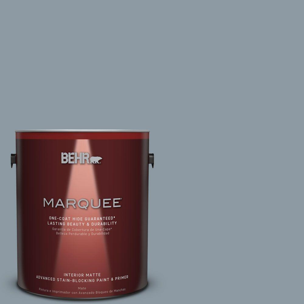 1 gal. #N490-4 Teton Blue One-Coat Hide Matte Interior Paint