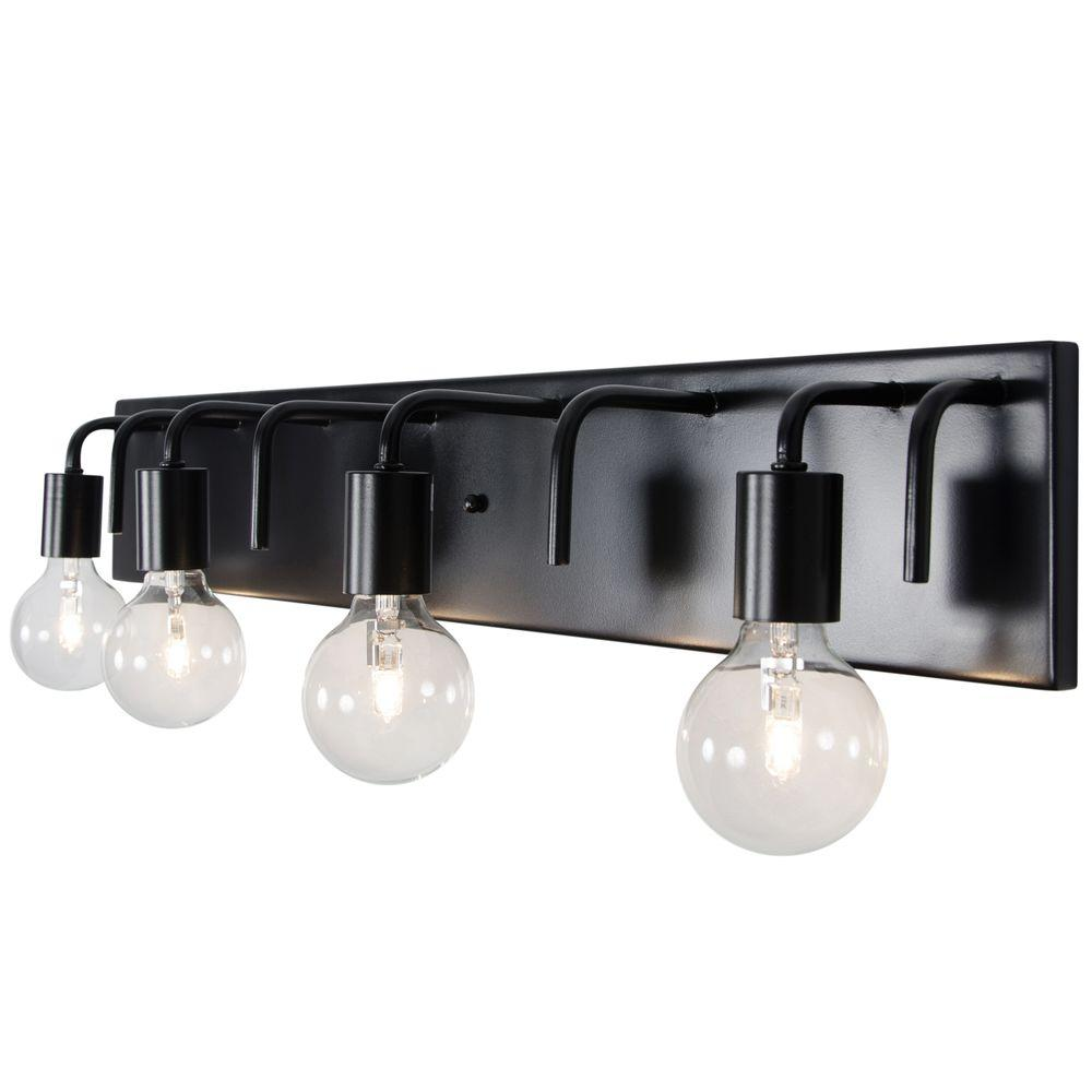 black bathroom lights varaluz socket to me 4 light black vanity light 219b04bl 12095