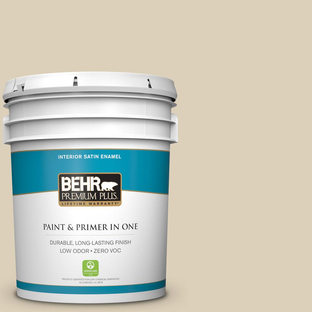 BEHR Premium Plus 5-gal. #BWC-26 Stucco Tan Satin Enamel Interior Paint