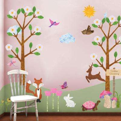 Forest Animals Multi Peel and Stick Removable Wall Decals Woodland Theme Wall Mural (83-Piece Jumbo Set)
