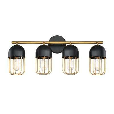 PALMERSTON 24 in. 4-Light Matte Black Vanity Light with Gold Shade