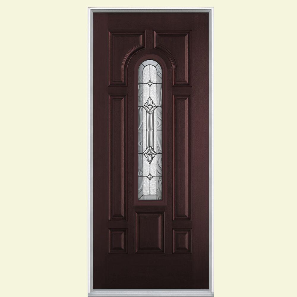 home depot front entry doorsMasonite 36 in x 80 in Providence Center Arch Merlot RightHand