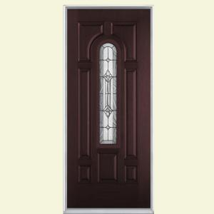Providence Center Arch Merlot Right Hand Inswing Stained Textured  Fiberglass Prehung Front Door 26618   The Home Depot