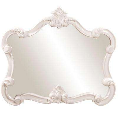 28 in. x 32 in. Glossy White Whimsical Framed Mirror
