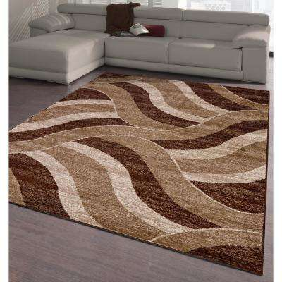 City Collection Brown Waves 5 ft. x 7 ft. Indoor Area Rug