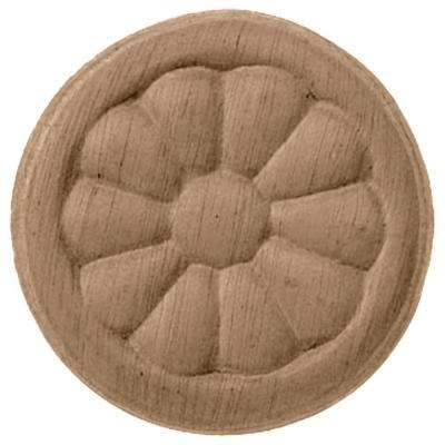 5 in. x 3/4 in. x 5 in. Unfinished Wood Rubberwood Reese Rosette
