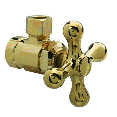 3/8 in. FIP Inlet x 3/8 in. O.D. Comp Outlet Multi-Turn Angle Valve with Cross Handle in Polished Brass