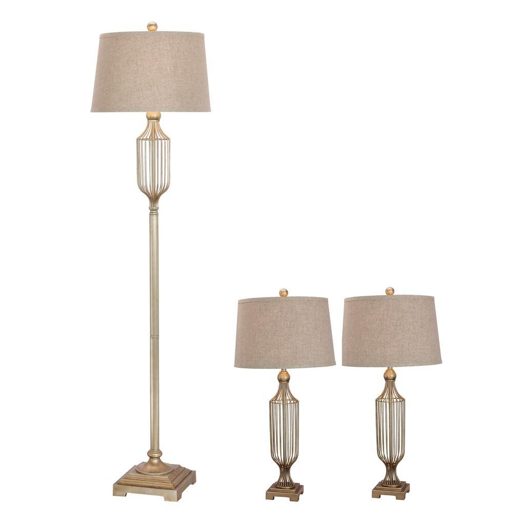 Fangio Lighting Champagne Gold Metal Wire Lamp Set (3-Piece)-W ...