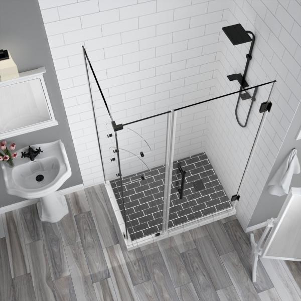 Aston Bromley Gs 48 25 To 49 25 X 38 375 X 72 In Frameless Corner Hinged Shower Enclosure W Shelves In Oil Rubbed Bronze Sen962ez Orb 492738 10 The Home Depot