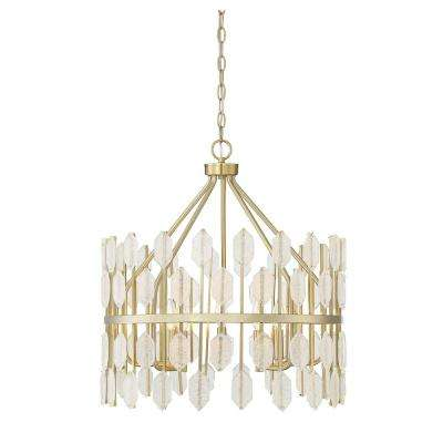 5-Light Noble Brass Pendant with Clear Glass
