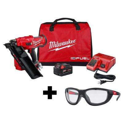 M18 FUEL 3-1/2 in. 18-Volt 30-Degree Lithium-Ion Brushless Cordless Framing Nailer Kit with Performance Safety Glasses