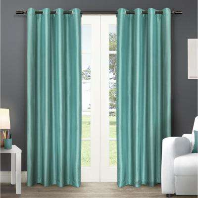 Chatra 54 in. W x 96 in. L Faux Silk Grommet Top Curtain Panel in Teal (2 Panels)