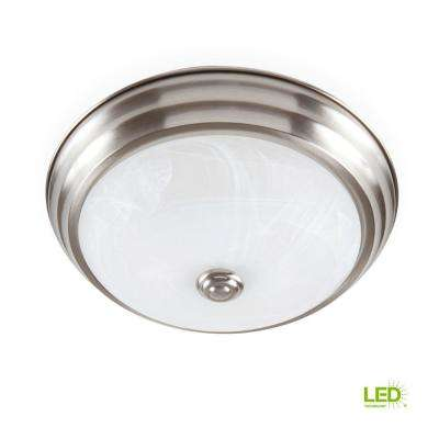 Brushed Nickel LED Flush Mount with Alabaster Glass