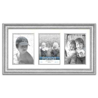 Lauren 3-Opening 20 in. x 10 in. Silver Matted Picture Frame