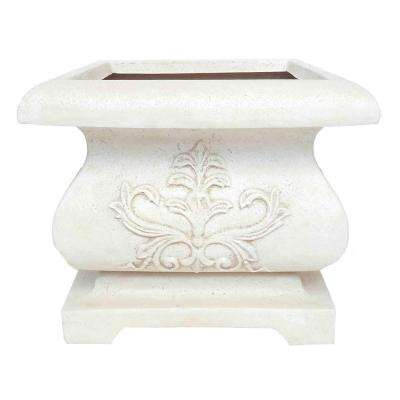 21 in. sq. Aged White Cast Stone Bombe Planter