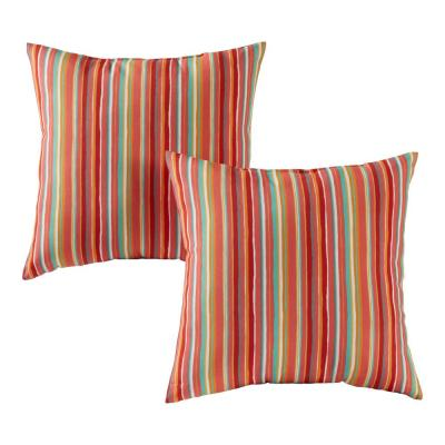 Watermelon Stripe Square Outdoor Throw Pillow (2-Pack)
