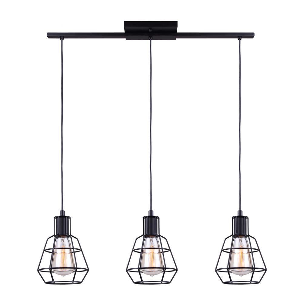 Wren 3-Light Matte Black Pendant