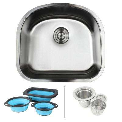 Undermount 16-Gauge Stainless Steel 23-1/4 in. Single Bowl Kitchen Sink in Sharp Satin Finish with Silicone Colanders