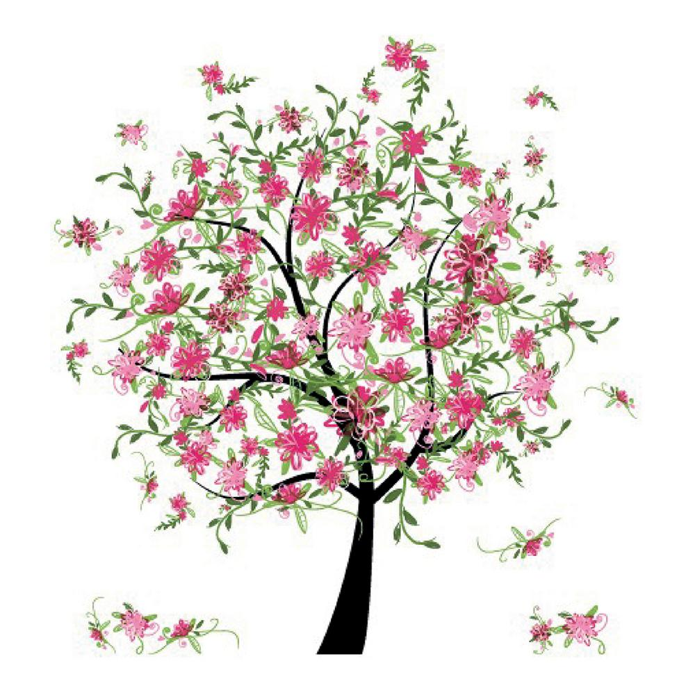 Brewster 110.2 in. x 39.4 in. Flowering Tree Wall Decal, ...