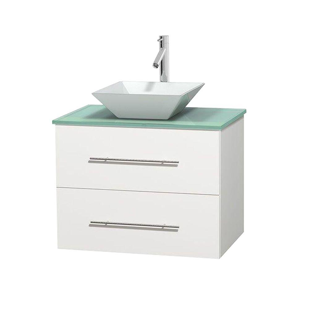 Wyndham Collection Centra 30 in. Vanity in White with Glass Vanity Top in Green and Porcelain Sink