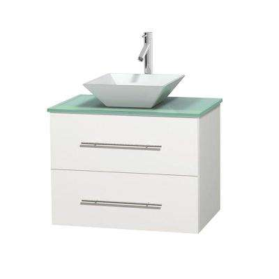 Centra 30 in. Vanity in White with Glass Vanity Top in Green and Porcelain Sink