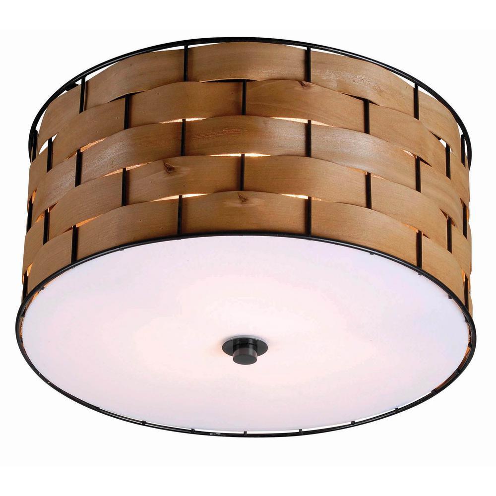 Wood - Flushmount Lights - Lighting - The Home Depot