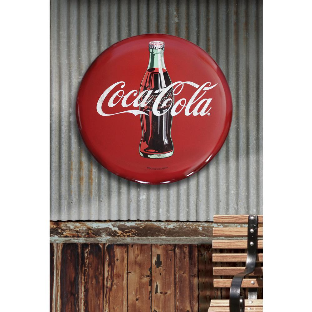 Coca Cola Sign Vintage Large Tin Round On Retro Metal Wall Art Old Decor