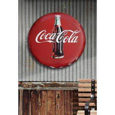 24 in. x 24 in. Coca-Cola Hollow Curved Tin Button Sign