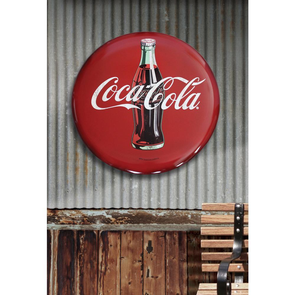 Coca-Cola Rustic 24 Inch Red Disc Button Sign Contour Bottle Script Logo