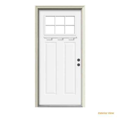 """"""" 36 in. x 80 in. 6 Lite Craftsman White Painted Steel Prehung Left-Hand Inswing Front Door w/Brickmould and Shelf"""""""