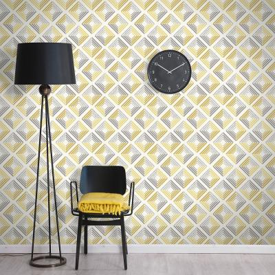 56.4 sq. ft. Echo Yellow Geometric Wallpaper