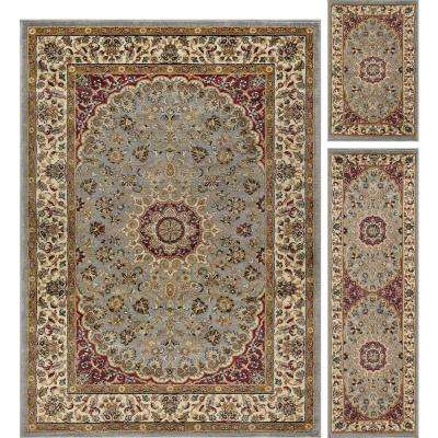 Elegance Blue 5 ft. x 7 ft. 3-Piece Rug Set