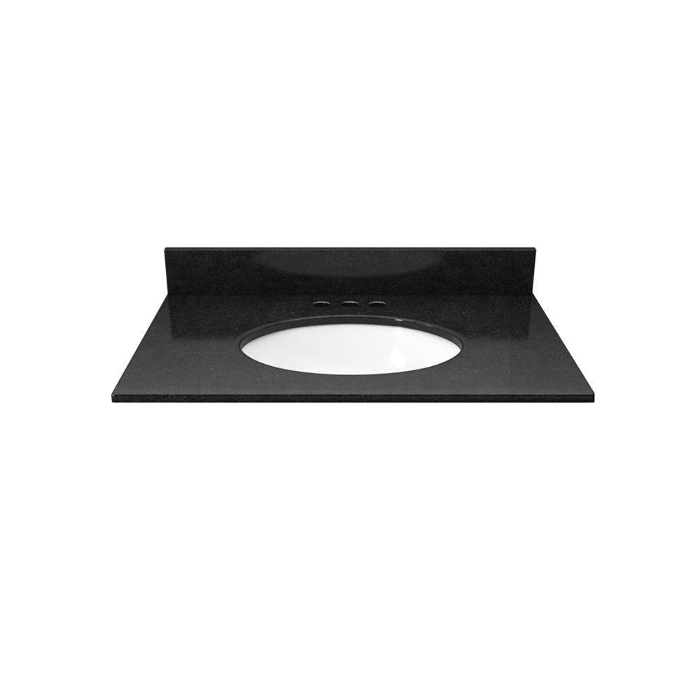 25 in. Granite Vanity Top in Absolute Black with White Basin