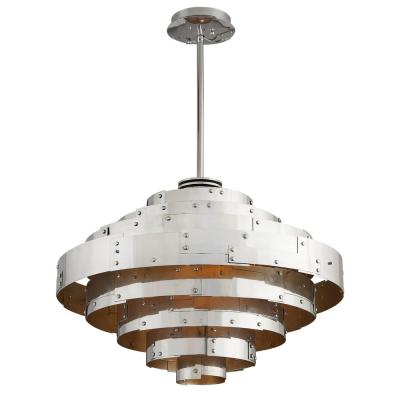 Mitchel Field 23-Watt Vintage Aluminum with Parisian Silver Leaf Integrated LED Pendant