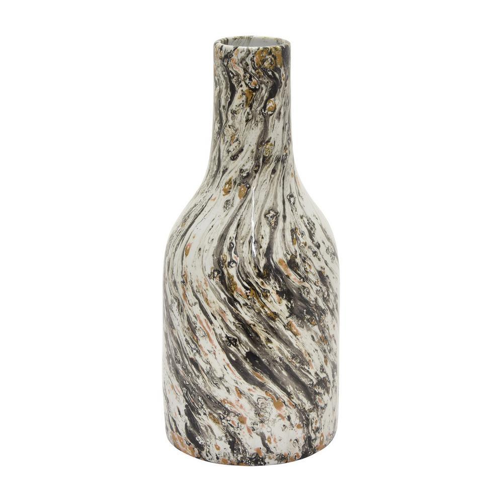 14 in. Black Ceramic Vase
