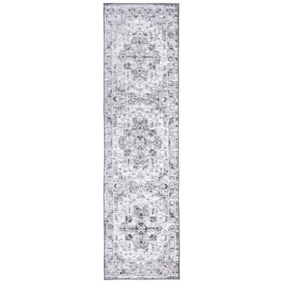 Traditional Distressed Medallion Gray 2 ft. x 7 ft. Runner Rug